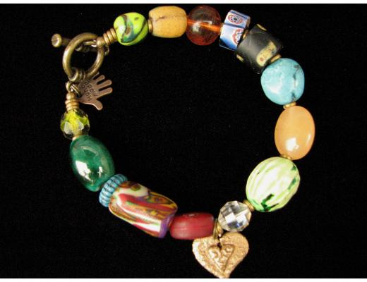 ASSORTED BEAD BRACELET AND CHARM
