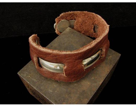 LEATHER AND STERLING SILVER CUFF BRACELET