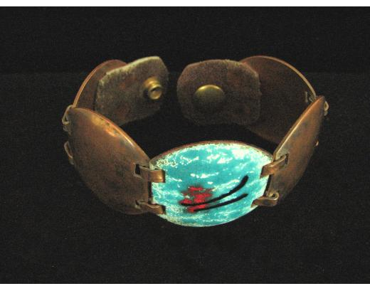 DOMED ENAMELED COPPER BRACELET