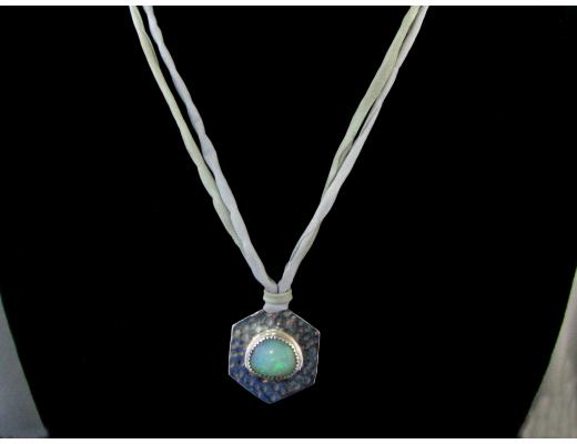 Hammered Sterling Silver and Opal Necklace and Pendant