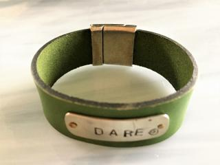 Dog Tag Leather Bracelet