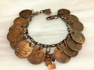 Hammered Copper Charm Bracelet