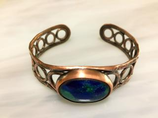 Rustic Hammered Copper and Chrysocolla Cuff Bracelet