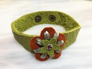 Leather Decorative Flower Bracelet