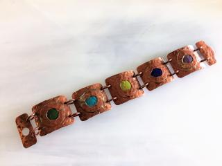 Enameled Hammered Copper Hinged Bracelet