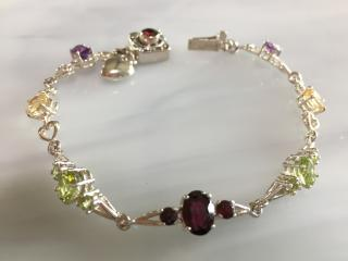 Gemstone and Sterling Silver Bracelet with Heart Charm