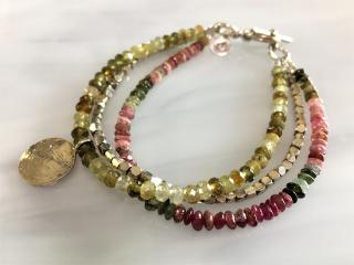 Beaded Tourmaline and Sterling Charm Bracelet
