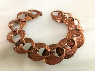 Hammered Copper Disc Bracelet