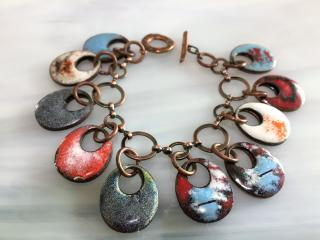 Multicolor Enameled Copper Disc Bracelet