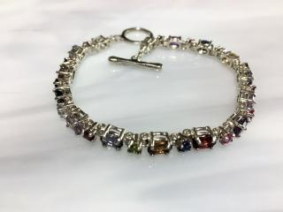 Gemstone and Sterling Silver Tennis Bracelet