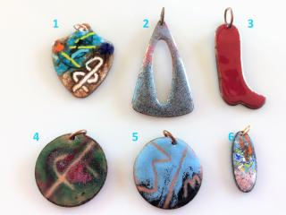 Handcrafted Enameled Copper Pendants for Necklaces