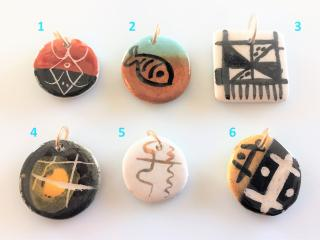 Handcrafted Enameled Ceramic Pendants for Necklaces