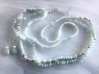 Three Strand Beaded Aquamarine Necklace