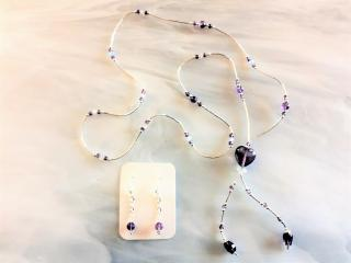 Purple Fluorite and Sterling Beaded Necklace