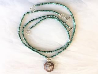 Turquoise Necklaces with an Ammonite Pendant