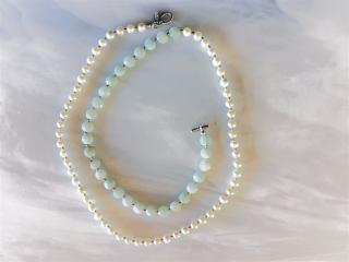 Aquamarine and Pearl Beaded Necklace