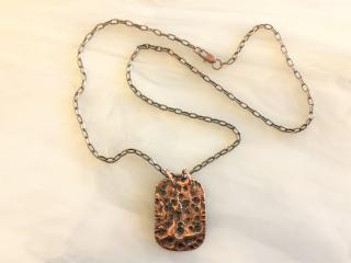 Hammered Copper Pendant Necklace