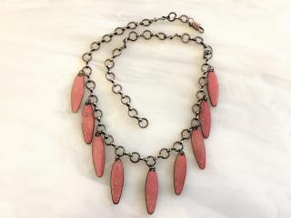 Pink Enameled Copper Necklace