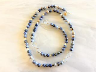 Sodalite and Sterling Beaded Necklace