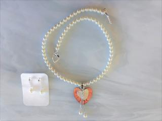 Beaded Pearl Necklace with Hammered Heart Pendants