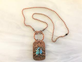Hammered Copper and Turquoise Pendant Necklace