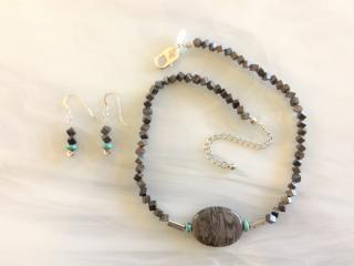 Brown Jasper Beaded Necklace and Pendant