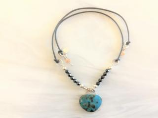 CHRYSOCOLLA PENDANT AND BEADED NECKLACE