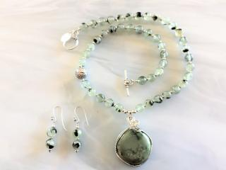 Prehnite Bead Chrysoprase Necklace and Pendant