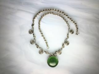 Emerald Green Obsidian Pendant Necklace
