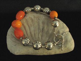 LAMPWORK AND STERLING BEAD BRACELET